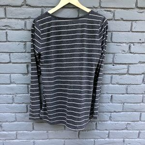 Lou & Grey Tops - Lou&Grey Gray/White Boatneck Striped Blouse sz M